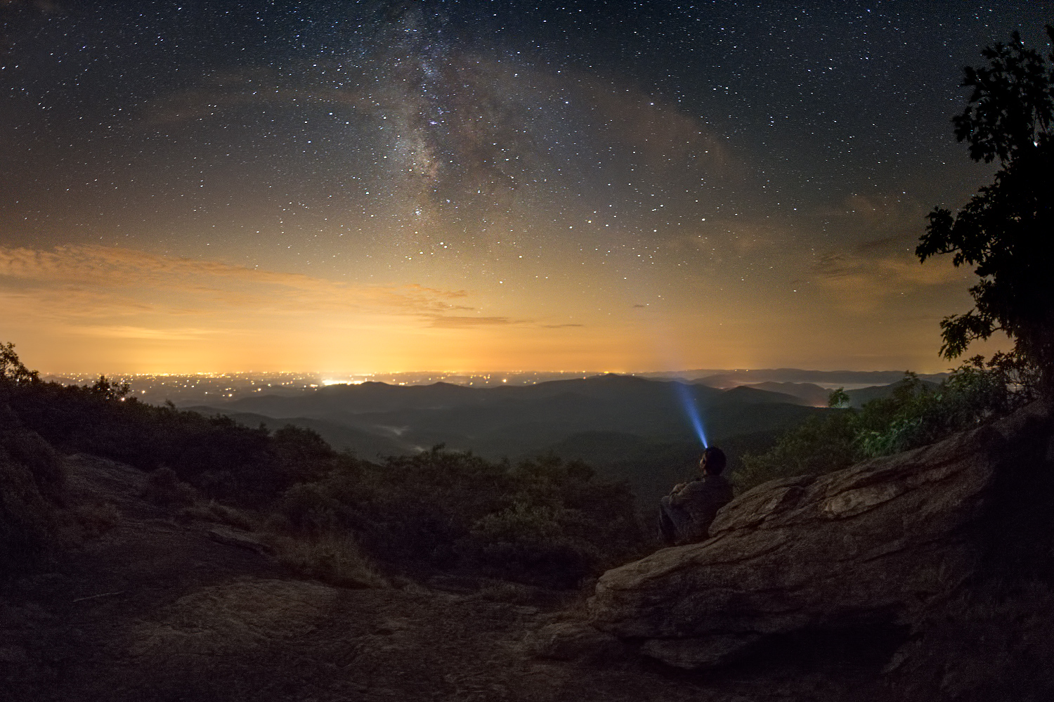 Thinking About The Milky Way - The Milky Way and it's galactic core from the summit of Blood Mountain, Georgia.