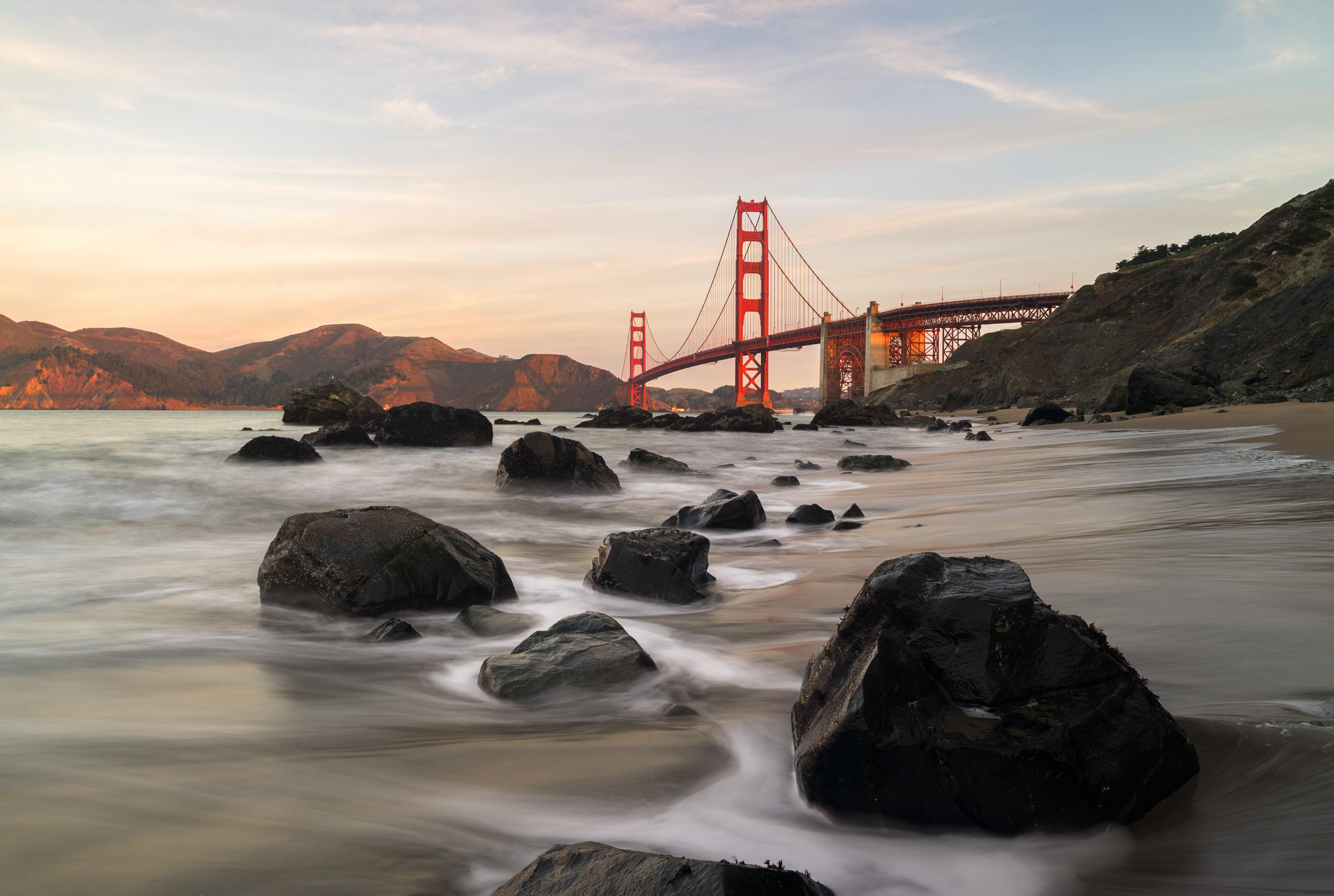 Marshall Beach, overlooking the Golden Gate Bridge.