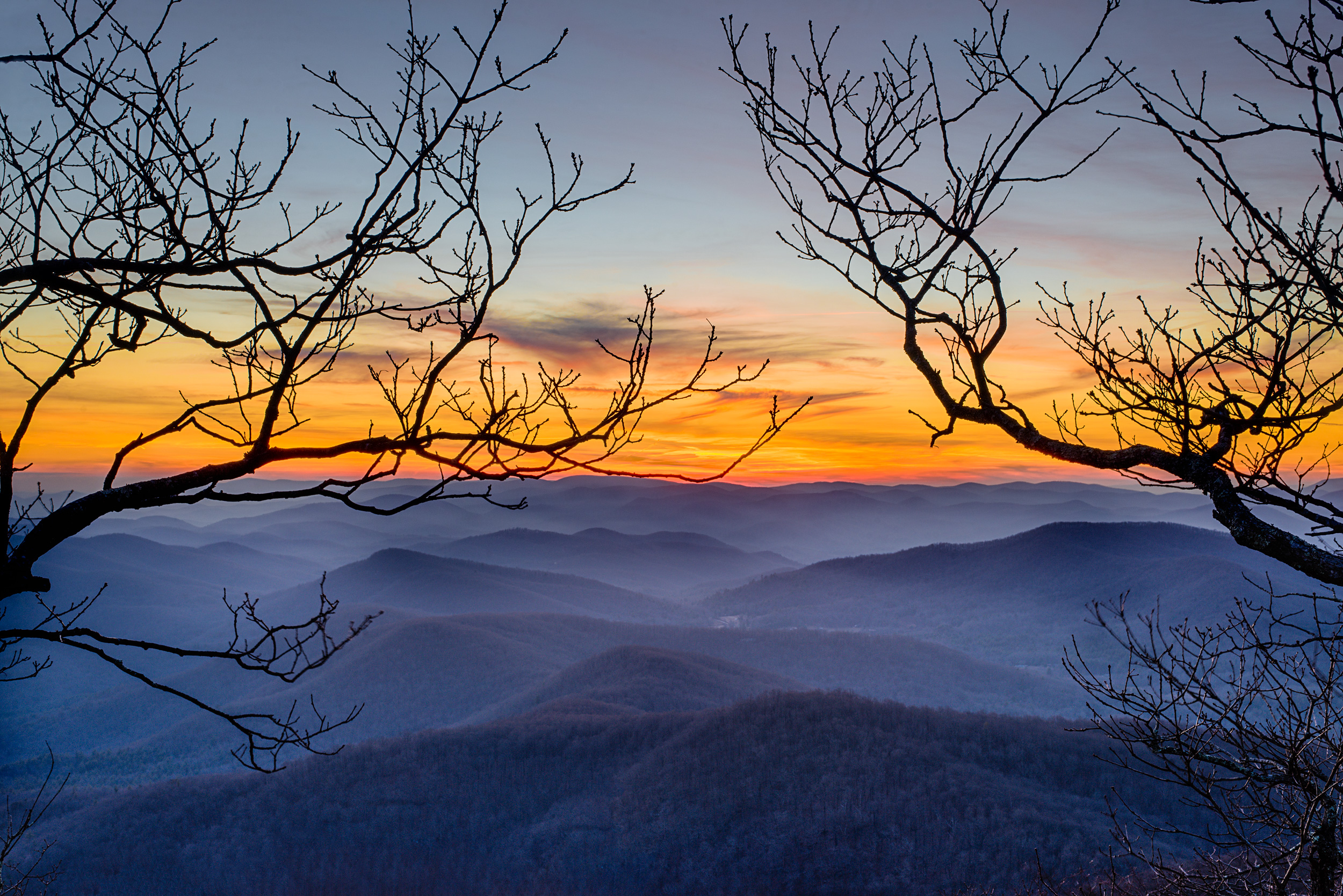 Sunset at the summit view, Blood Mountain GA.