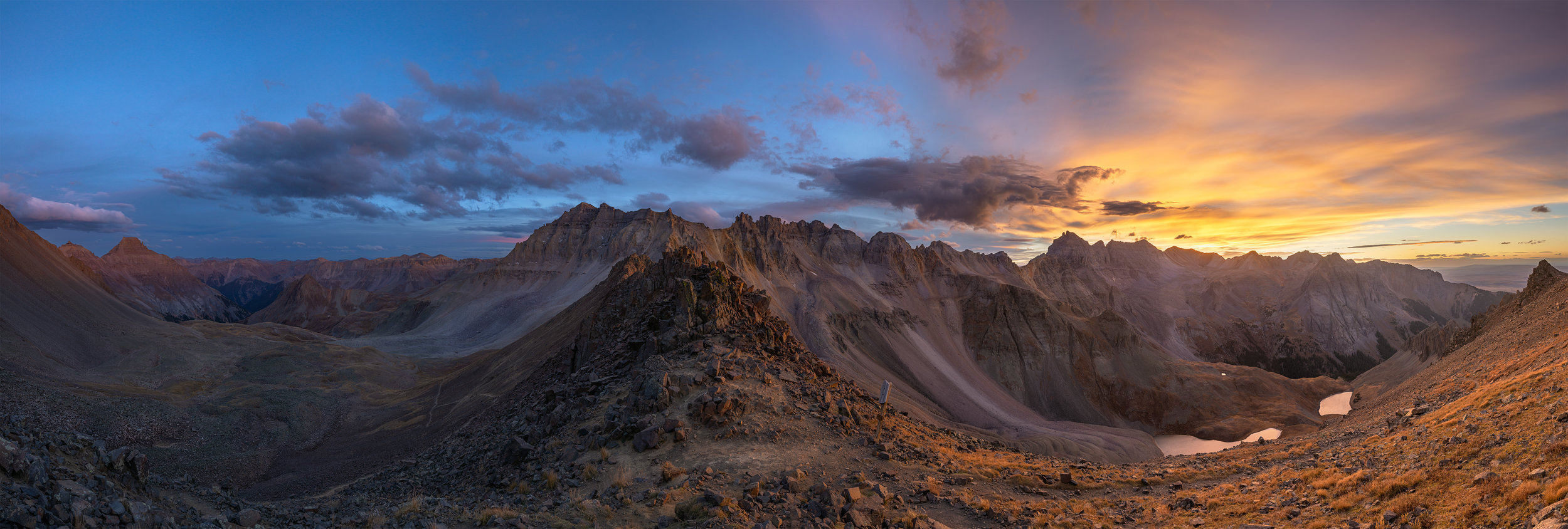 Blue Lakes Pass at sunset, in the Mt Sneffels Wilderness Area.