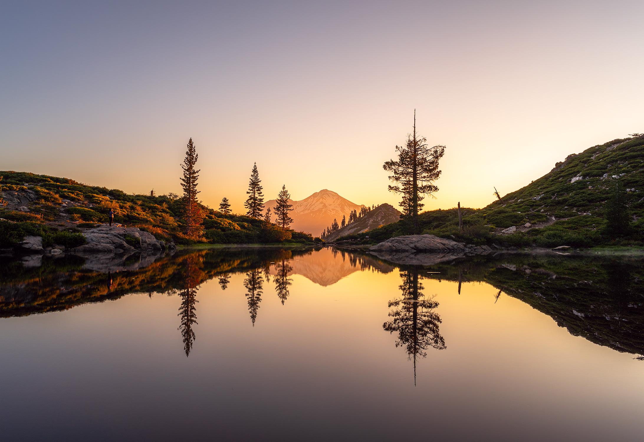 Heart Lake, overlooking Mt Shasta.