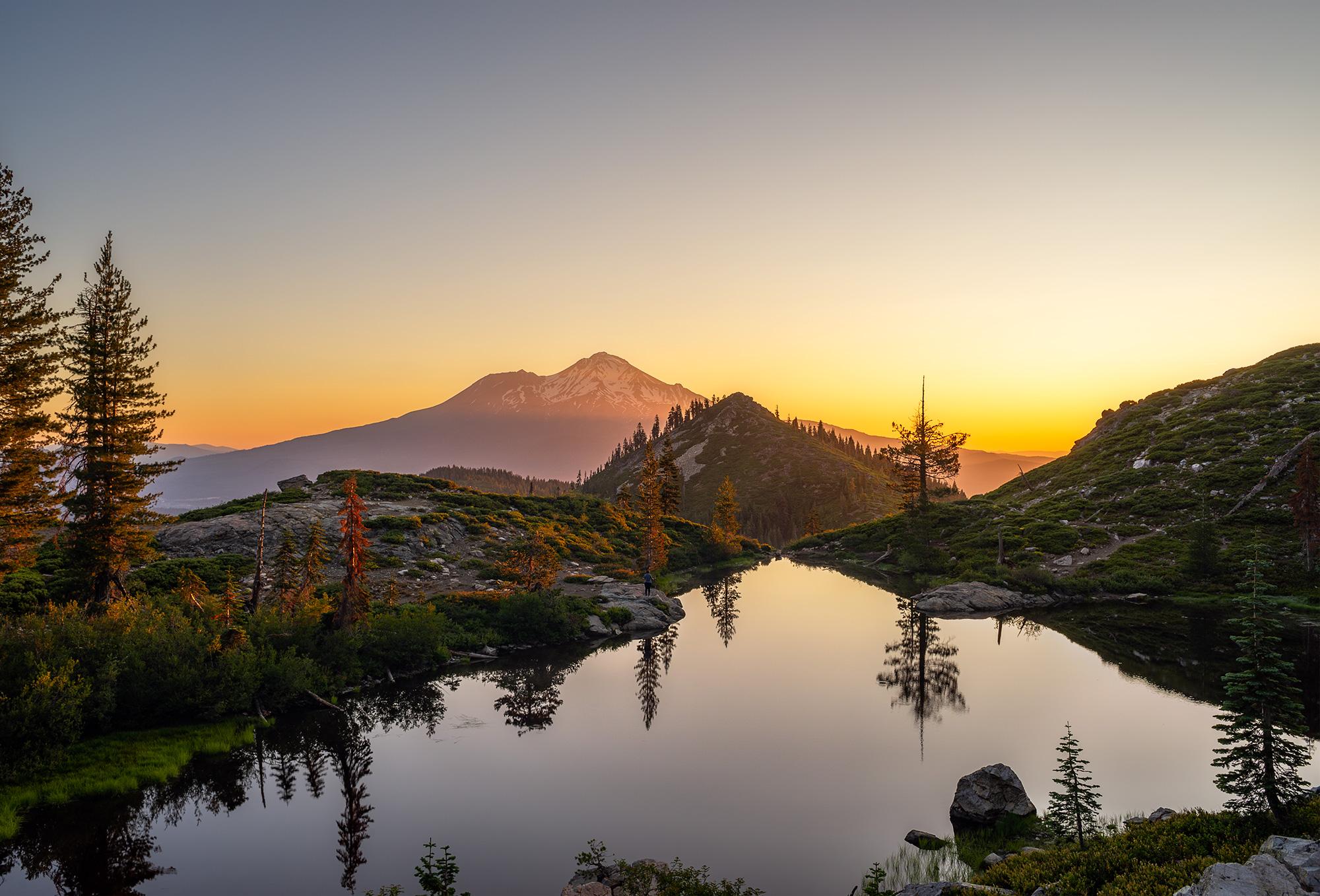 Higher up on Heart Lake at sunrise.