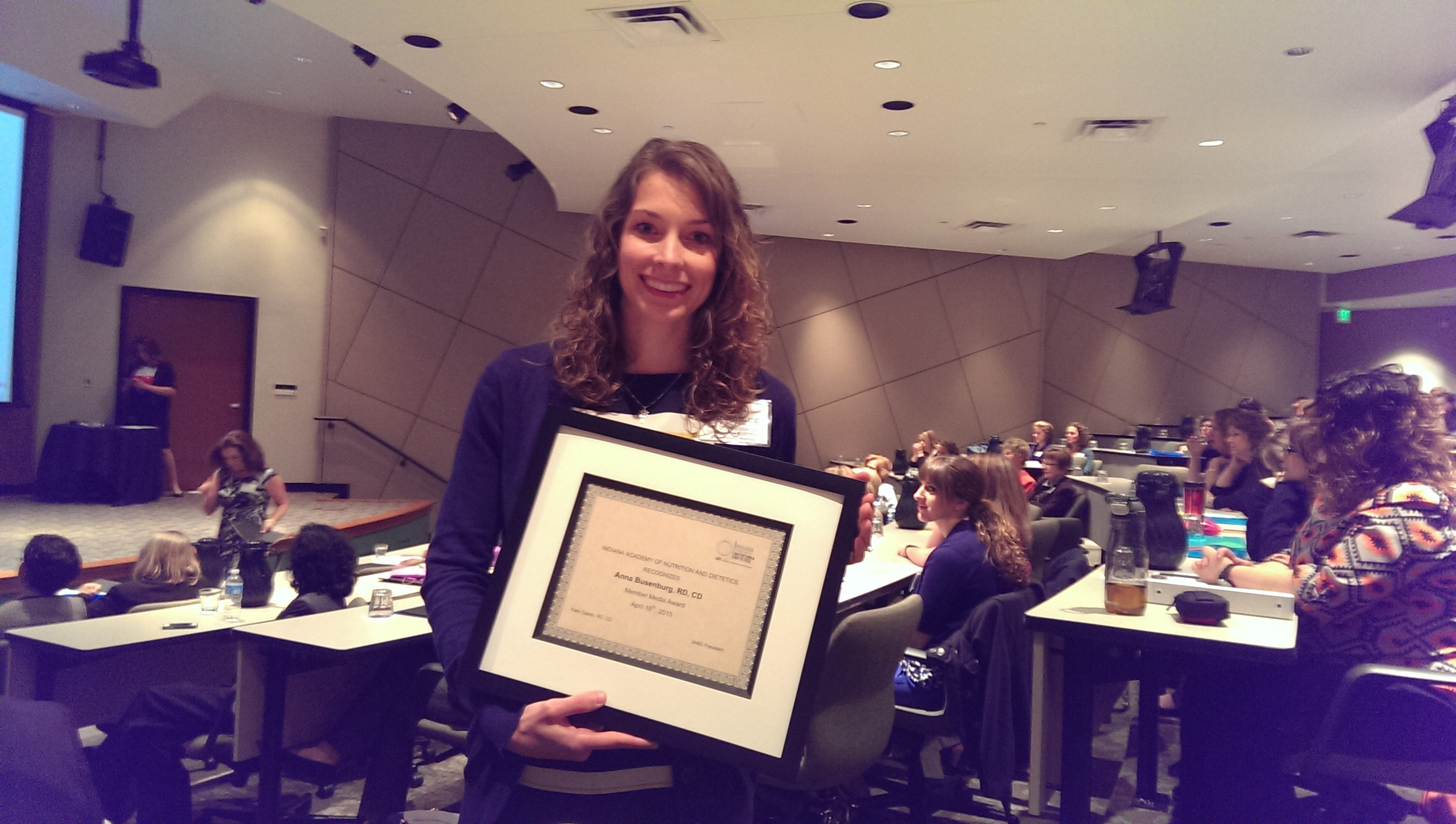 The 2015 Indiana Dietetic Association Media Award!