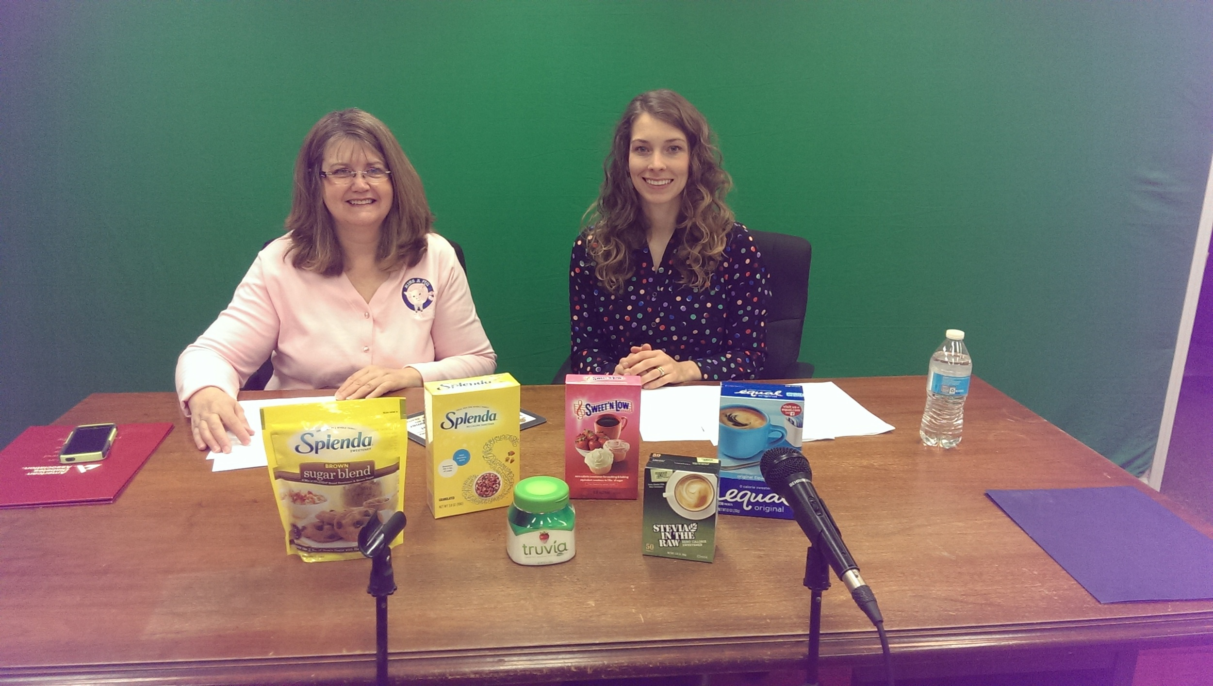 Getting ready to our Artificial Sweeteners segment on Hamilton County TV with Carol Dixon from the American Diabetes Association in Indianapolis.
