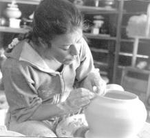 Sandi at work in her studio, probably about 1994.