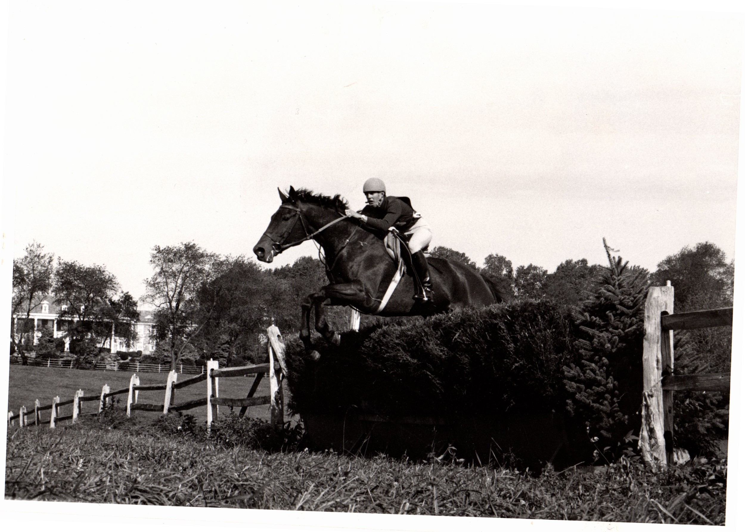 1976 Radnor Three-day event, steeplechase phase, riding our horse Atticus