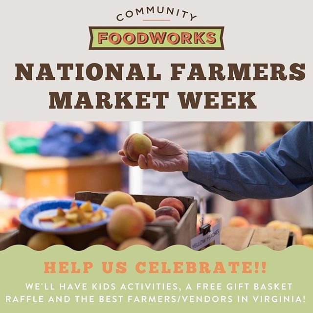 #nationalfarmersmarketweek !!! Farmers markets are so important because they promote access to healthy and fresh produce, support farmers, and bring communities together! To celebrate, we'll be doing a FREE GIFT BASKET RAFFLE stuffed with all your market favorites along with other fun and games! Stop by the market August 4-11 to celebrate the joys of farmers markets with us! . . @communityfoodworks #farmersmarket #vafarmersmarket #edibledc #mcleanva #shoplocal #supportlocal #vagrown #buyfreshbuylocal #localfood #familyfun