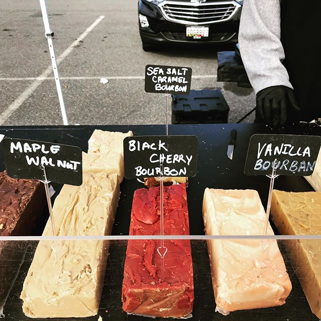 @chocolatemoonshineva is popping up at the market today with all the fudge you could ever want to eat! There are SO many different flavors - you'll have to try them all! . . . #farmersmarket #vafarmersmarket #springfieldva #springfieldtwncntr #shoplocal #supportlocal #fudge