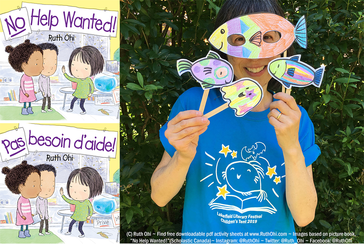 "New for Summer2019! Click above for free downloadable pdf activity sheets for ""No Help Wanted!"". Thank you Lakefield Literary Festival for the Bluey & Bat T-shirt! It's an honour to have Bluey & Bat featured this way."