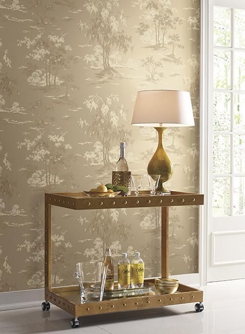 Burke Decor Scenic Wallpaper in Gold design by York Wallcoverings, found  here