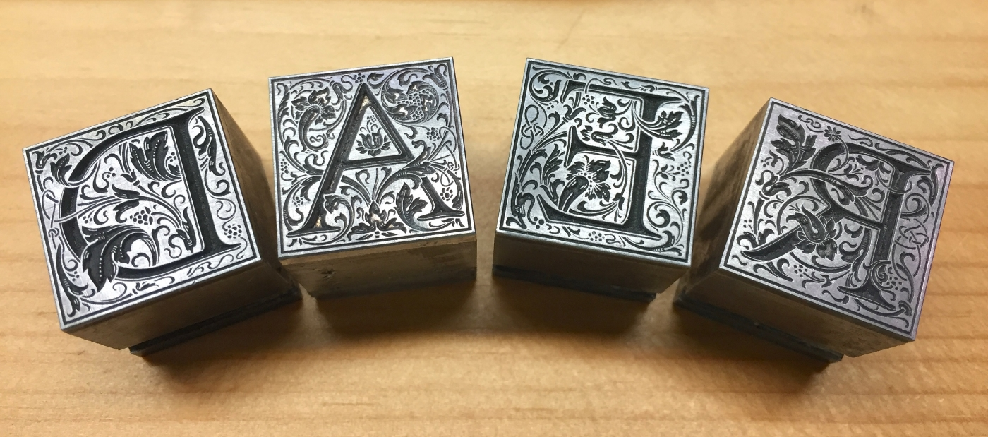 Some of the largest (and most beautiful) metal type we have here at the Press: 60-point Cloister Initials, designed by Frederic Goudy.