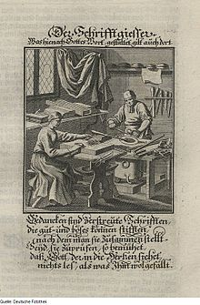 1698 illustration of a German typefounder preparing the metal for casting his type