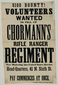 Civil War recruitment poster. From the International Printing Museum website. http://www.printmuseum.org/museum/wood-type-2/