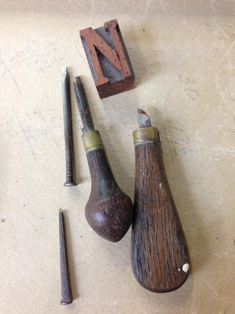 Some carving tools for making detailed adjustments to the newly-routed wood type. (At Hamilton Wood Type and Printing Museum)
