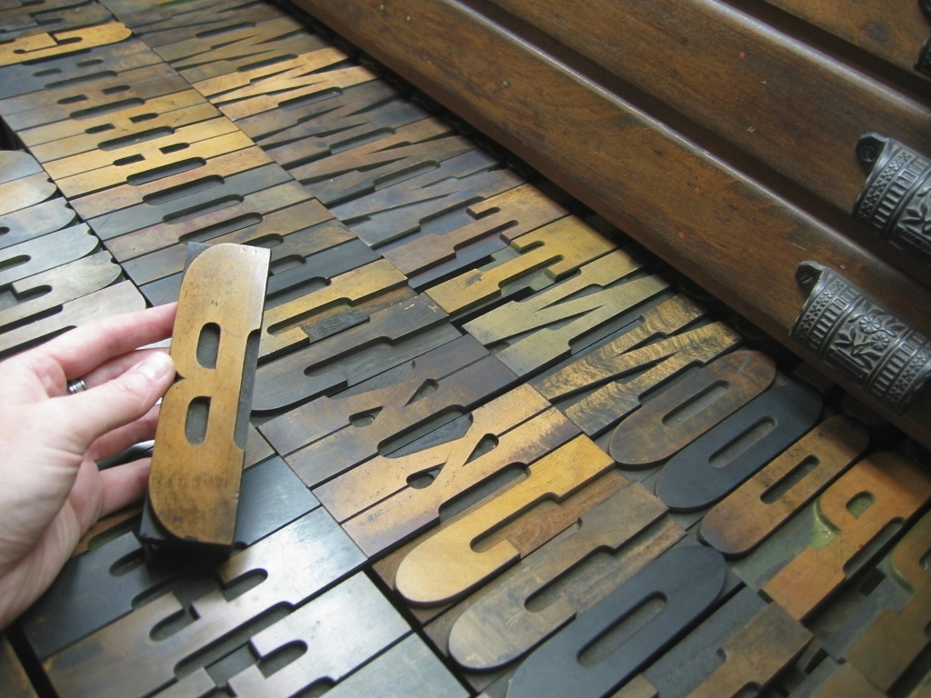 Some of the largest wood type we have in our collection at St Brigid Press.