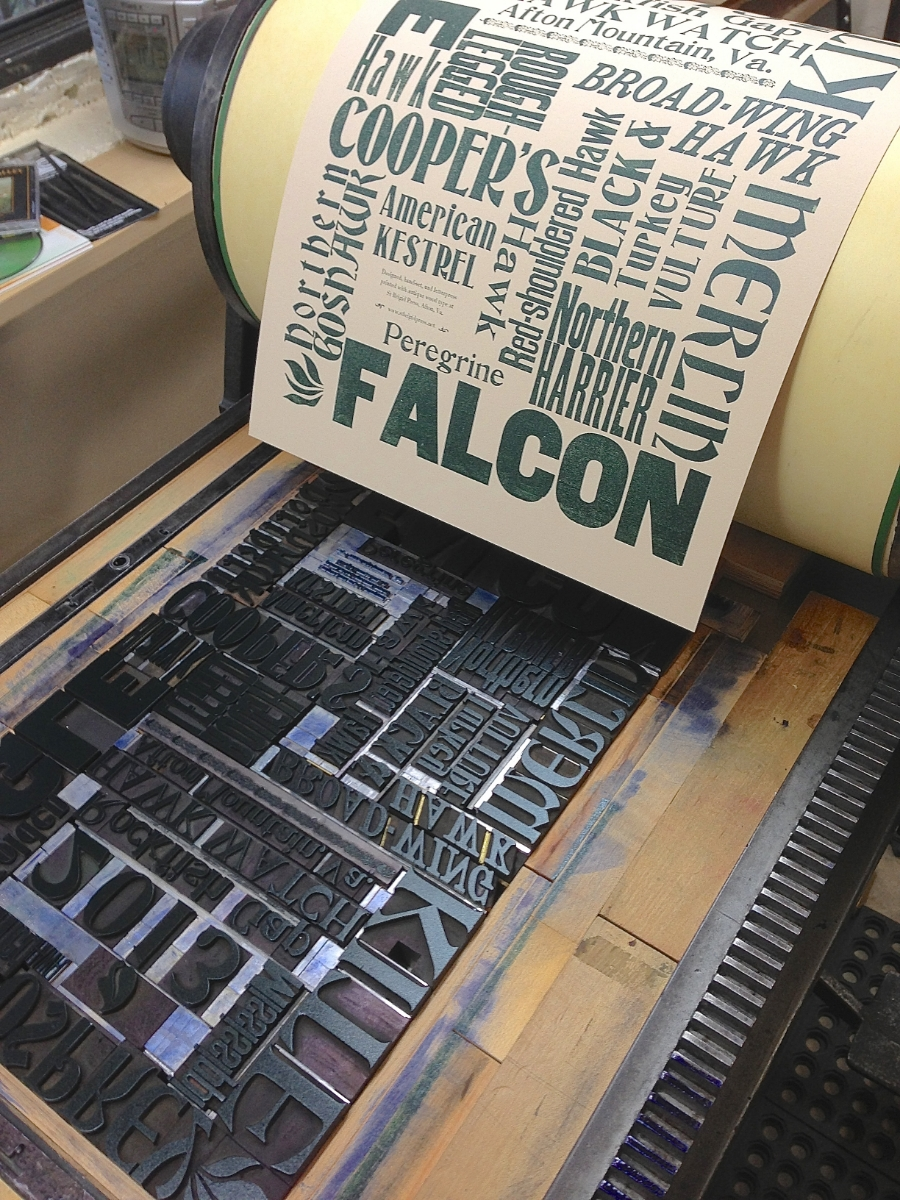 One of our most enjoyable projects using wood type here at the Press: a limited edition poster celebrating the raptors that migrate along the Blue Ridge Mountains.