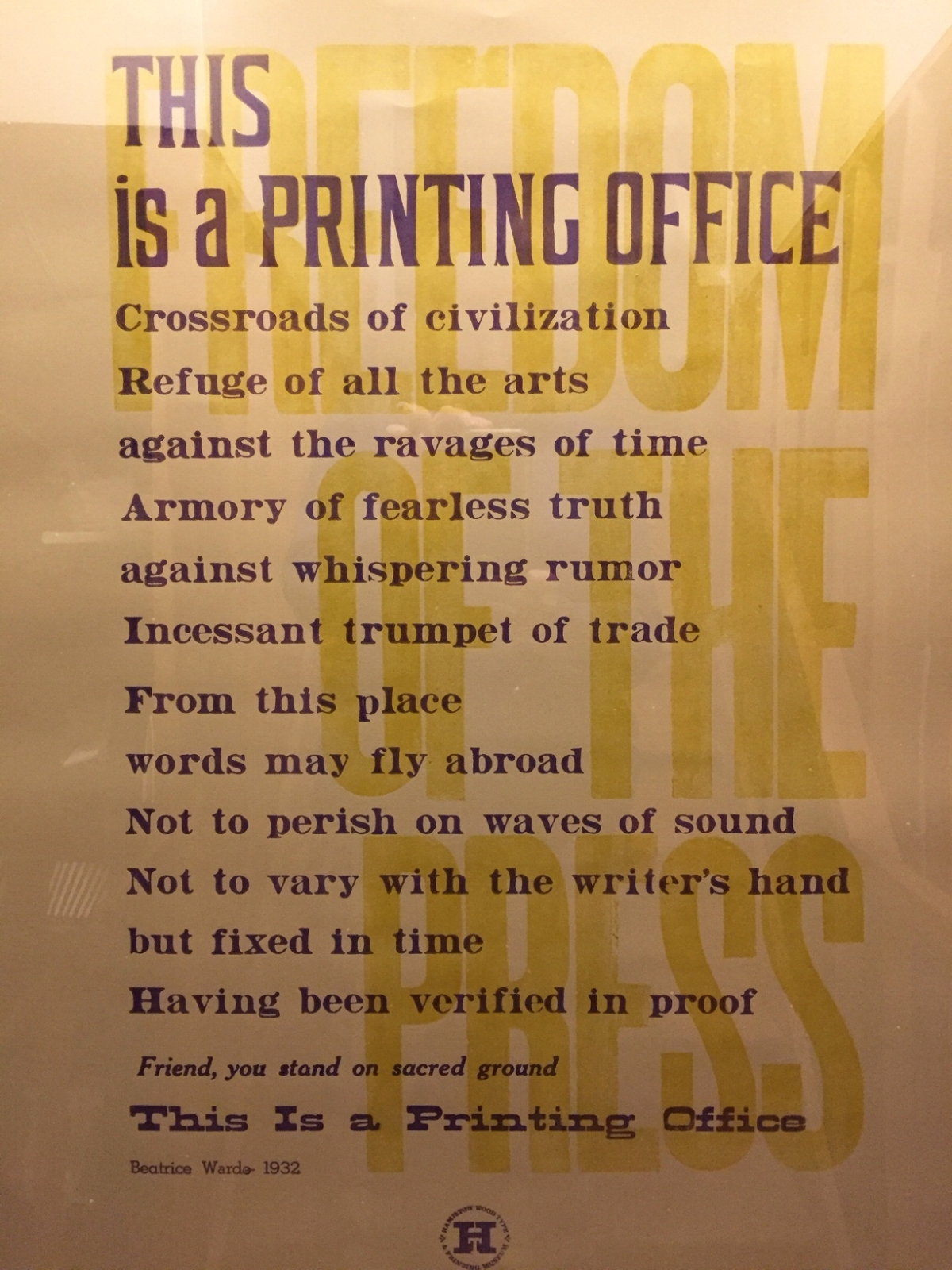 """This is a Printing Office,"" by American journalist and typographer Beatrice Warde (1932). Here printed by the Hamilton Wood Type and Printing Museum (Two Rivers, Wisconsin)."