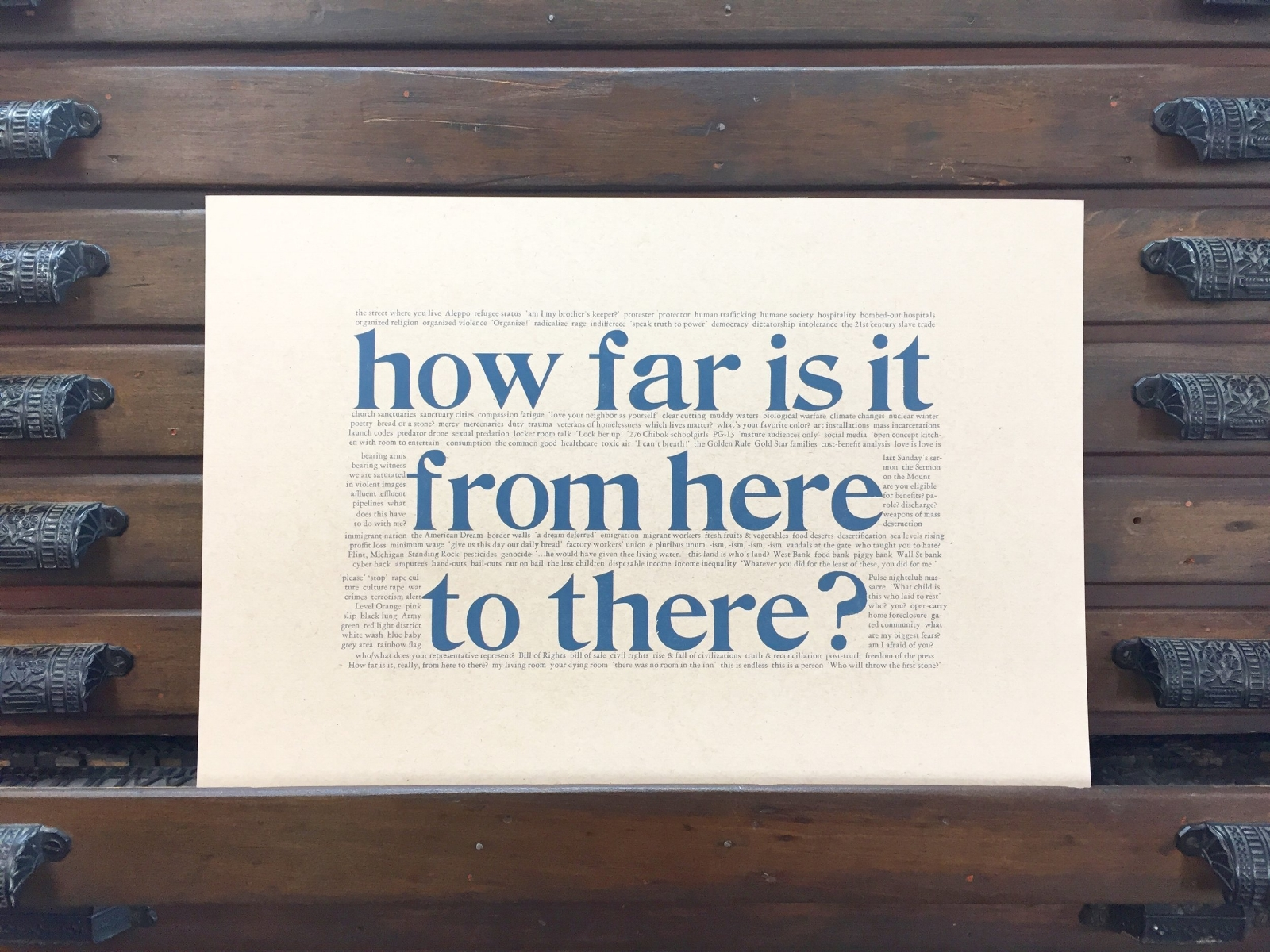 """ How far is it from here to there? ""   12x18 letterpress poster by Emily Hancock, $12 post-paid. For ordering, email us at   stbrigidpress@gmail.com   ."