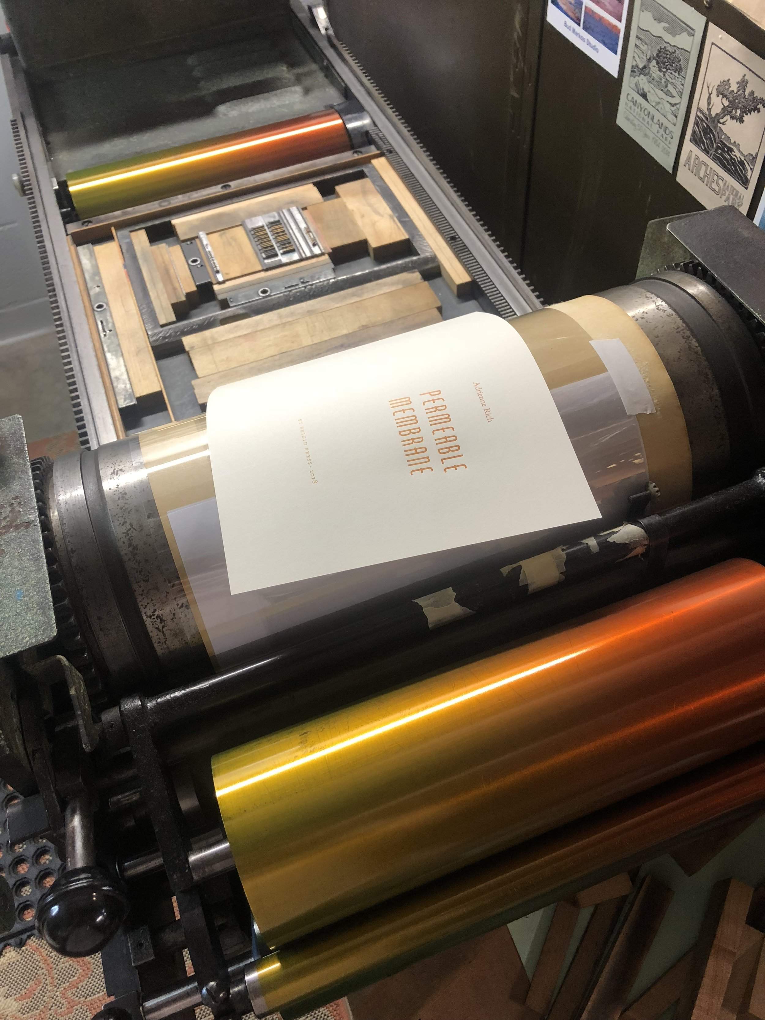 Printing the title page with a gradient of color from orange to yellow.
