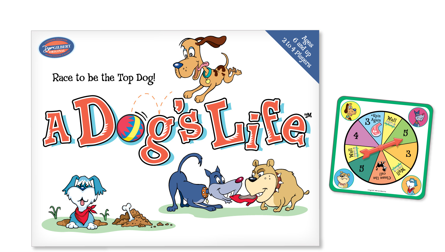 """A Dog's Life"" box and game pieces for Dan Gilbert Originals"