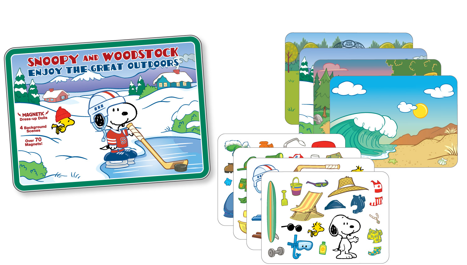 """Snoopy and Woodstock magnet set and background cards in a printed tin for Determined Productions, characters ©Peanuts Worldwide, LLC"
