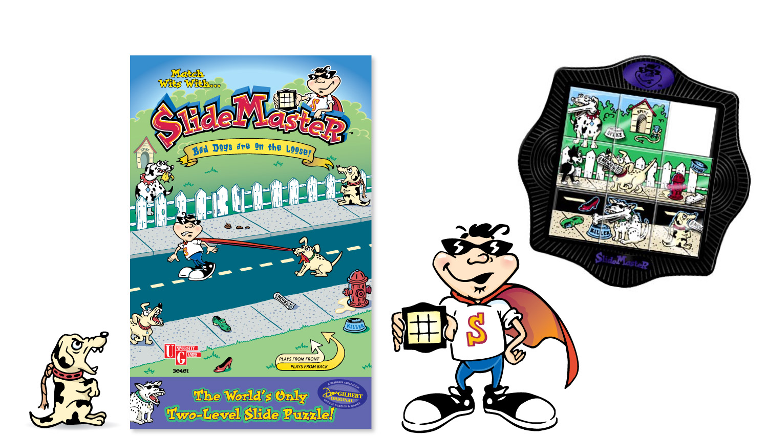 """SlideMaster"" original character and art for slide puzzle and clamshell package"