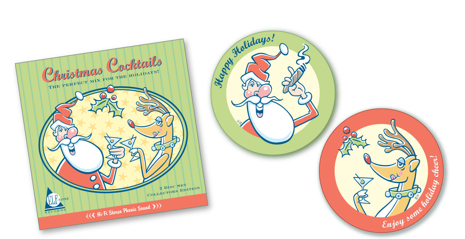 """Christmas Cocktails"" illustration for CD box and drink coasters"