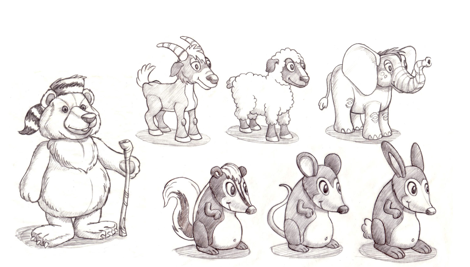 Plush concept sketches for Determined Productions, Inc.