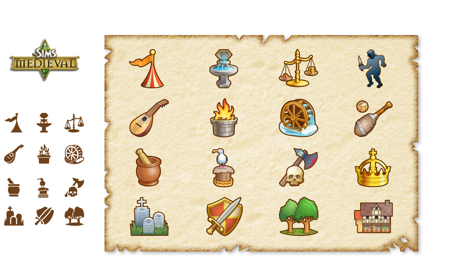 Icons for EA Games' Sims Medieval
