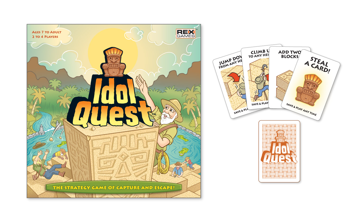 """Idol Quest"" game box, card deck and game board for Rex Games, Inc."