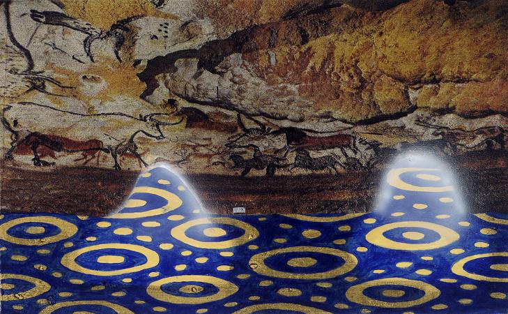 Lasceaux,  2008 Acrylic, oil and enamel on linen 30 x 50cm