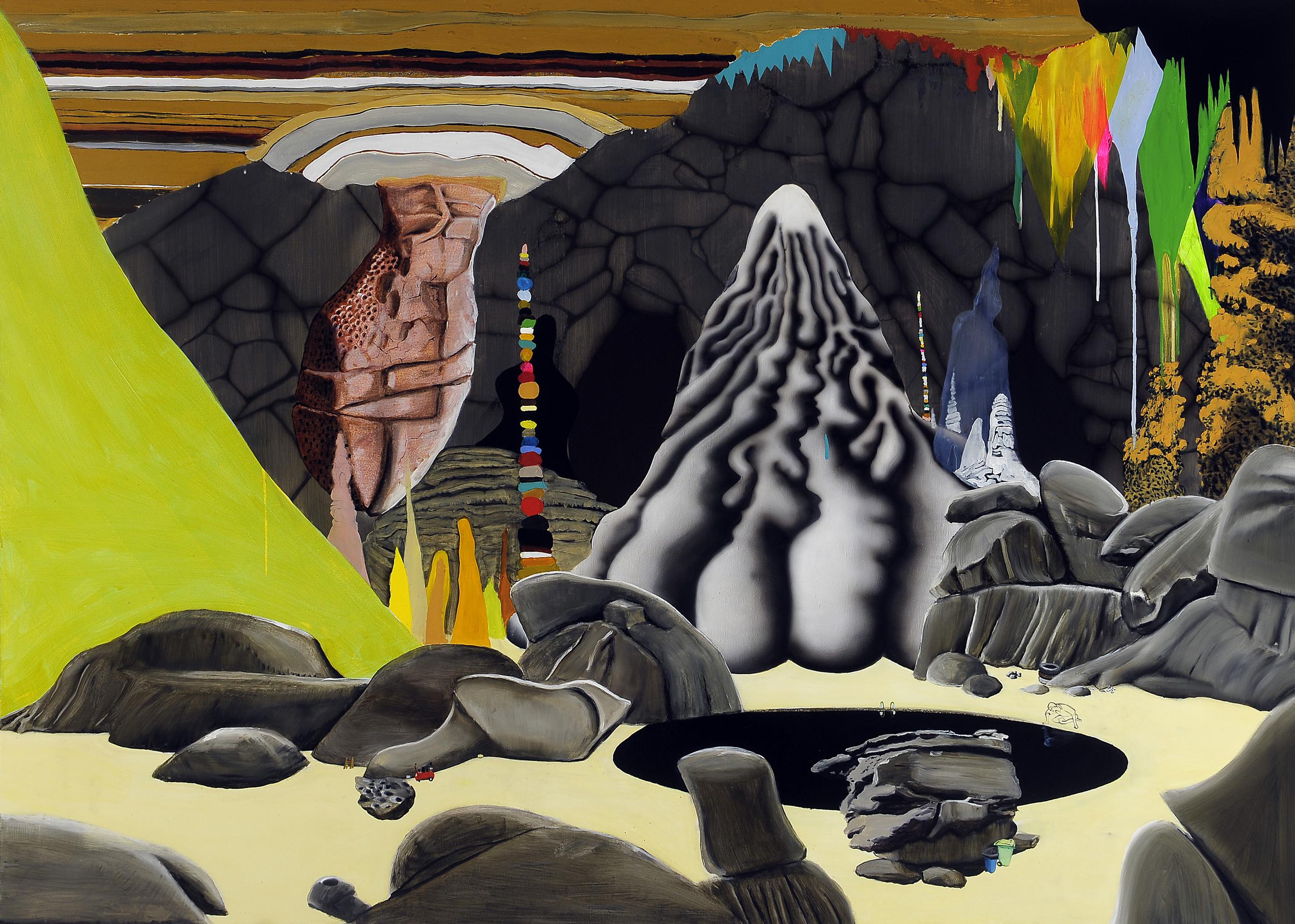 Cavedreams,  2008 Acrylic, oil and enamel on linen 150 x 250cm