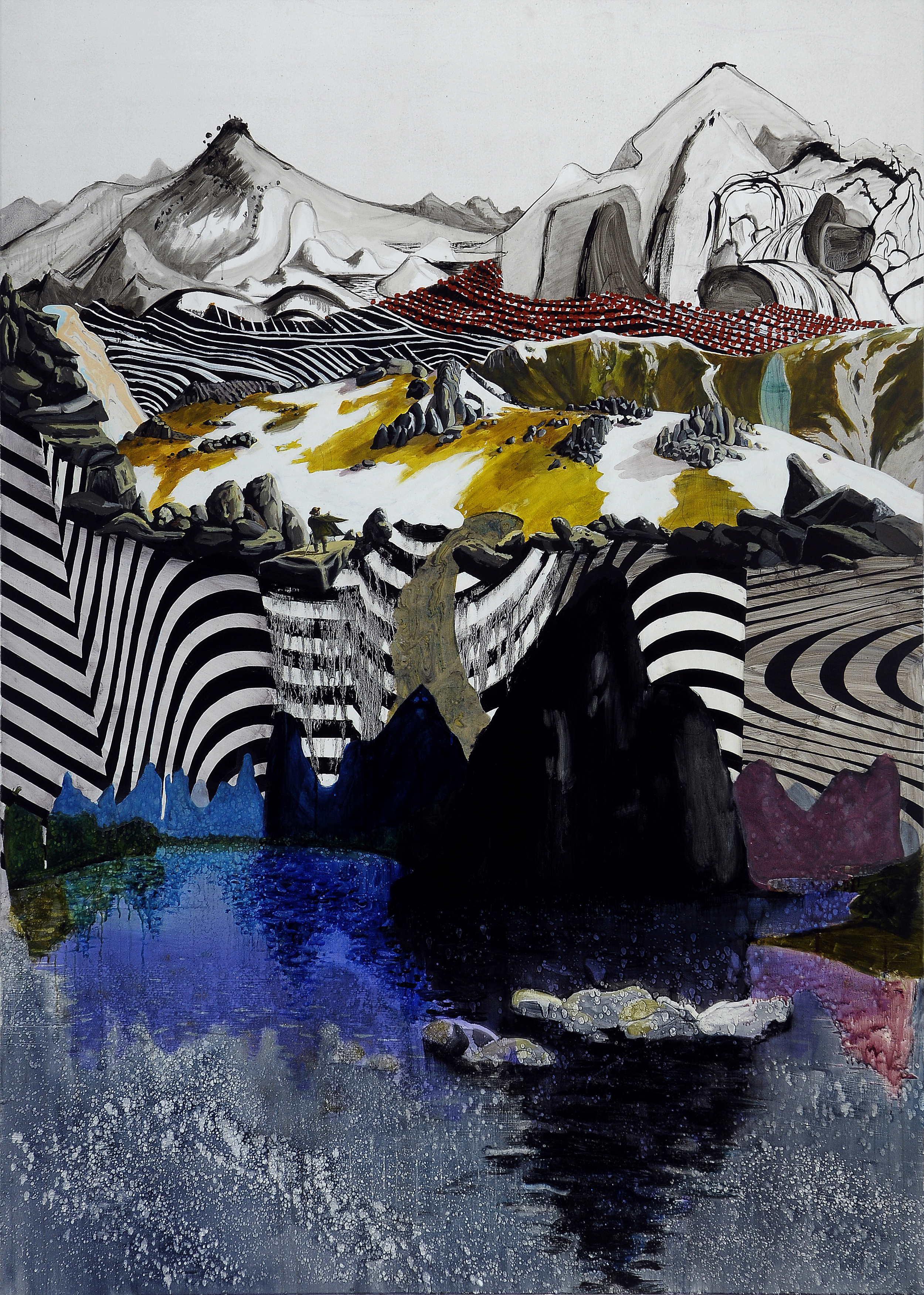 There are many ways up the mountain,  2008 Acrylic, oil and enamel on synthetic polymer 260 x 150 cm