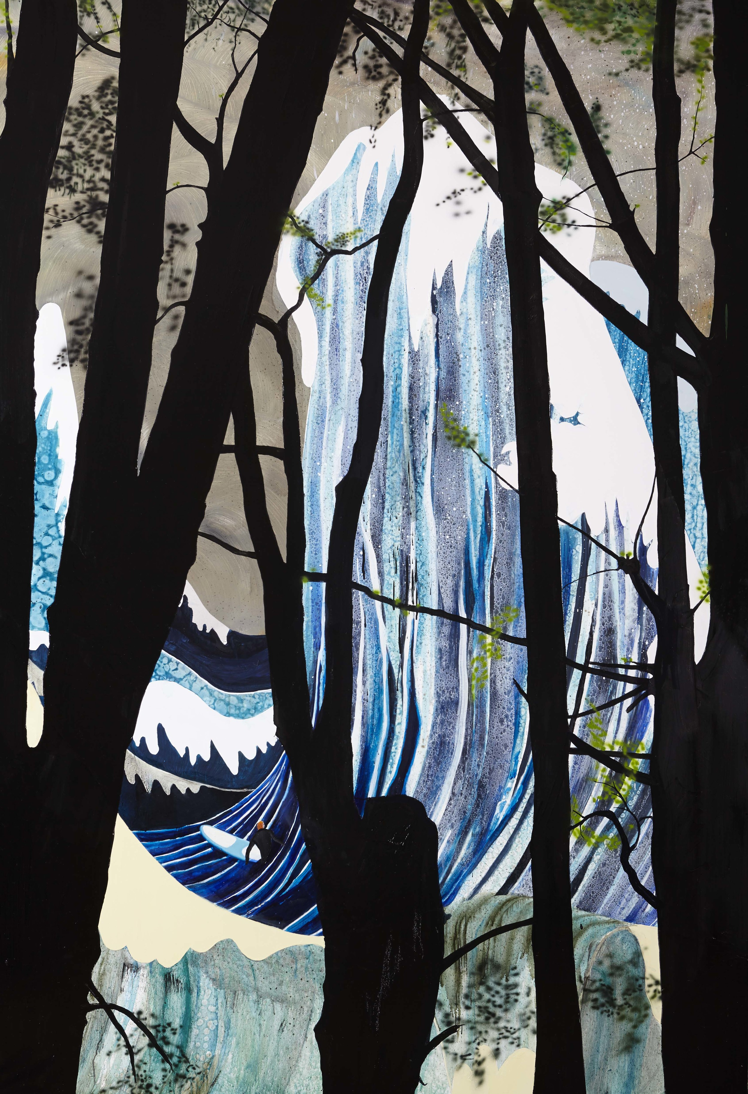 The pines,  2013 Acrylic, oil and automotive enamel on linen 200 x 137cm