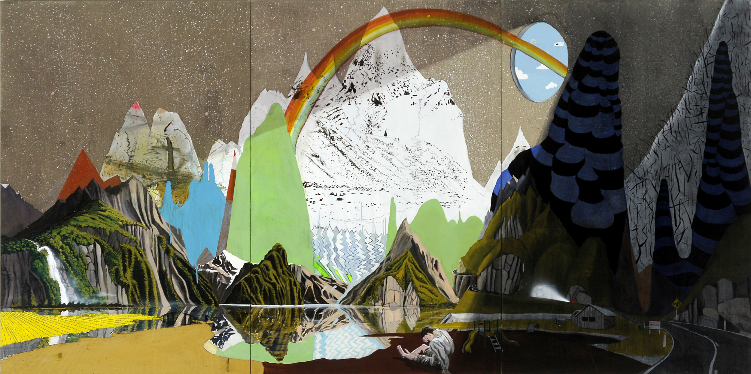 Highs and lows,  2009 Acrylic, oil and enamel on linen 200 x 450cm