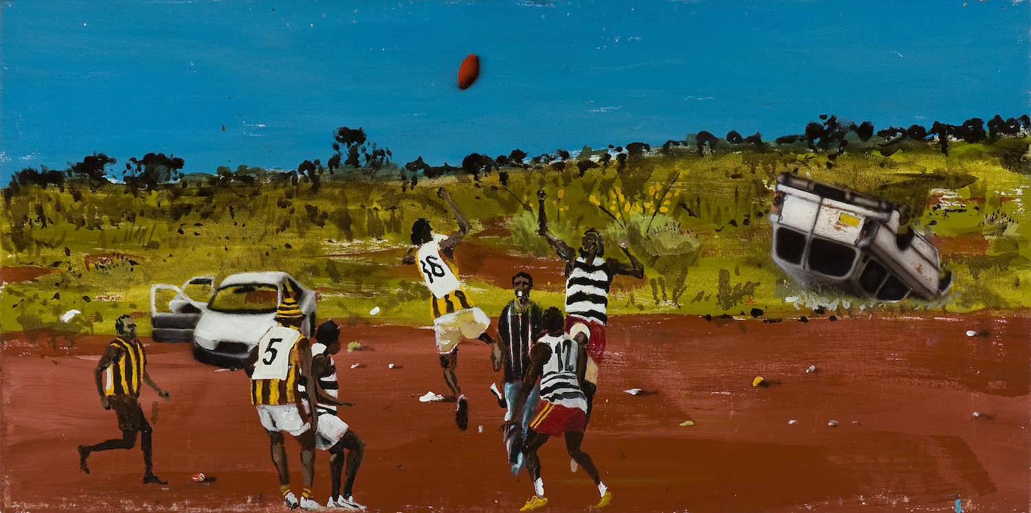 Kintore sports weekend,  2010 Acrylic, oil and automotive enamel on linen 61 x 122cm