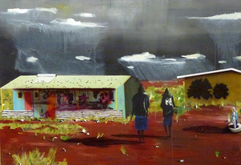 Community,  2010 Acrylic, oil and automotive enamel on linen 99 x 122 cm