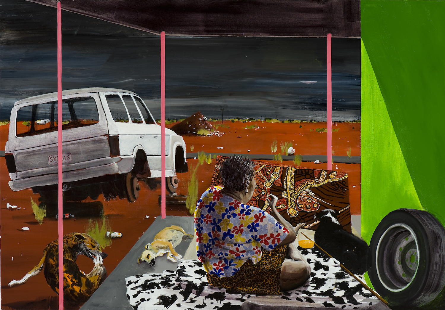 Kintore (sitting with Naata Nungurrayi),  2010 Acrylic, oil and automotive enamel on linen 100 x 130cm