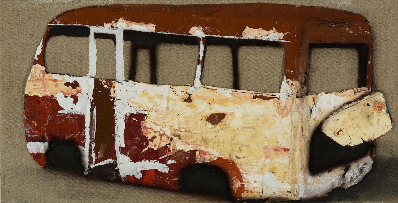 Whitegoods,  2010 Cut up paint skins on linen 30 x 50cm