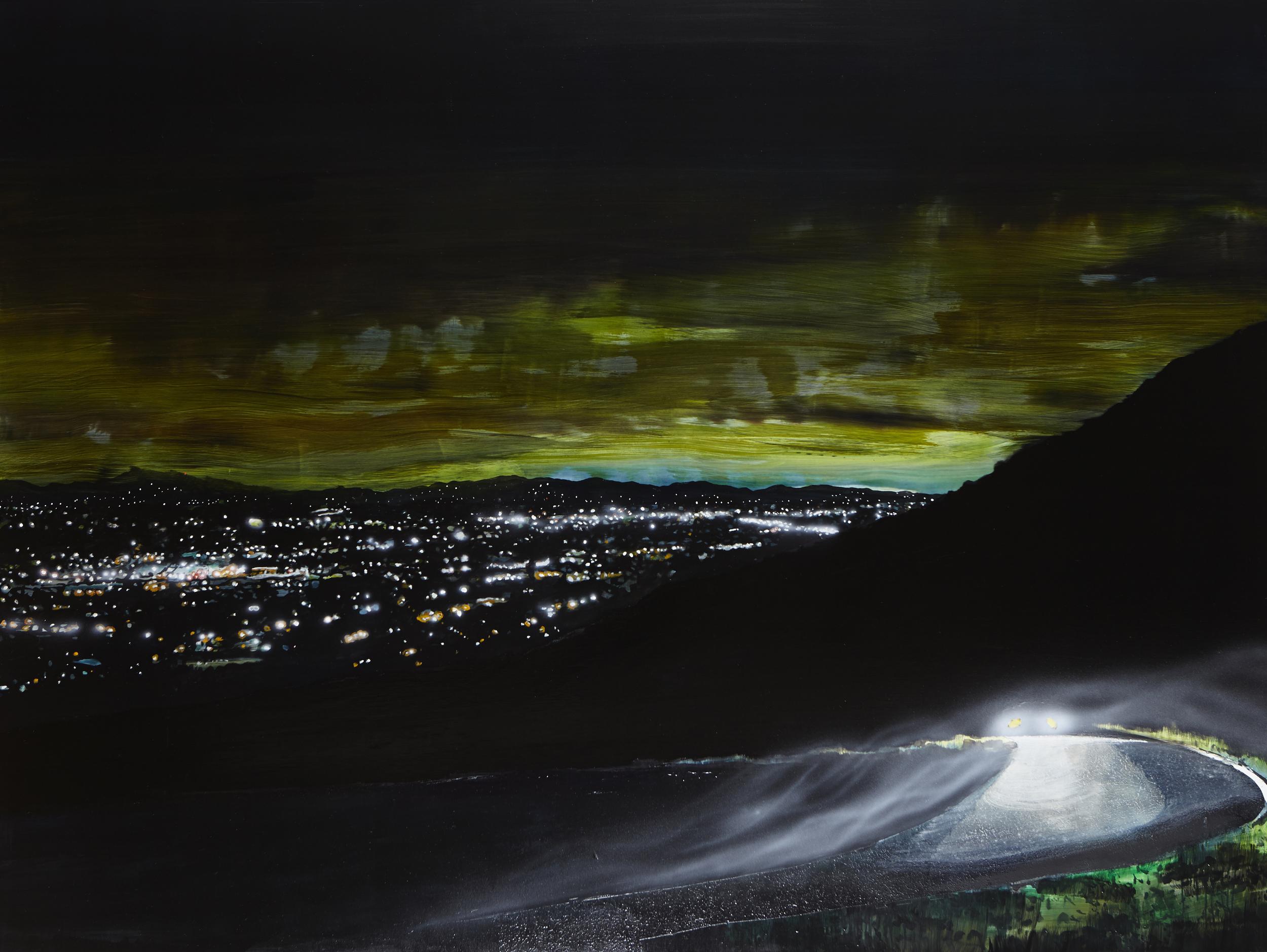 Leaving,  2014 Acrylic, oil and automotive enamel on linen 150 x 200cm
