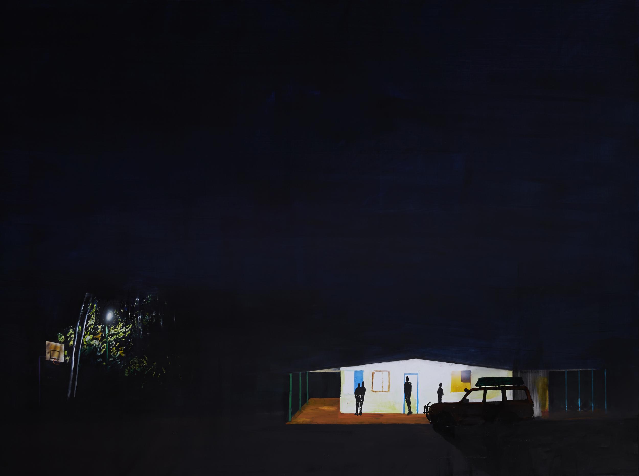 Australian Gothic/ Kintore Blues,  2015 Acrylic, oil and enamel on synthetic polymer canvas 50 x 200cm