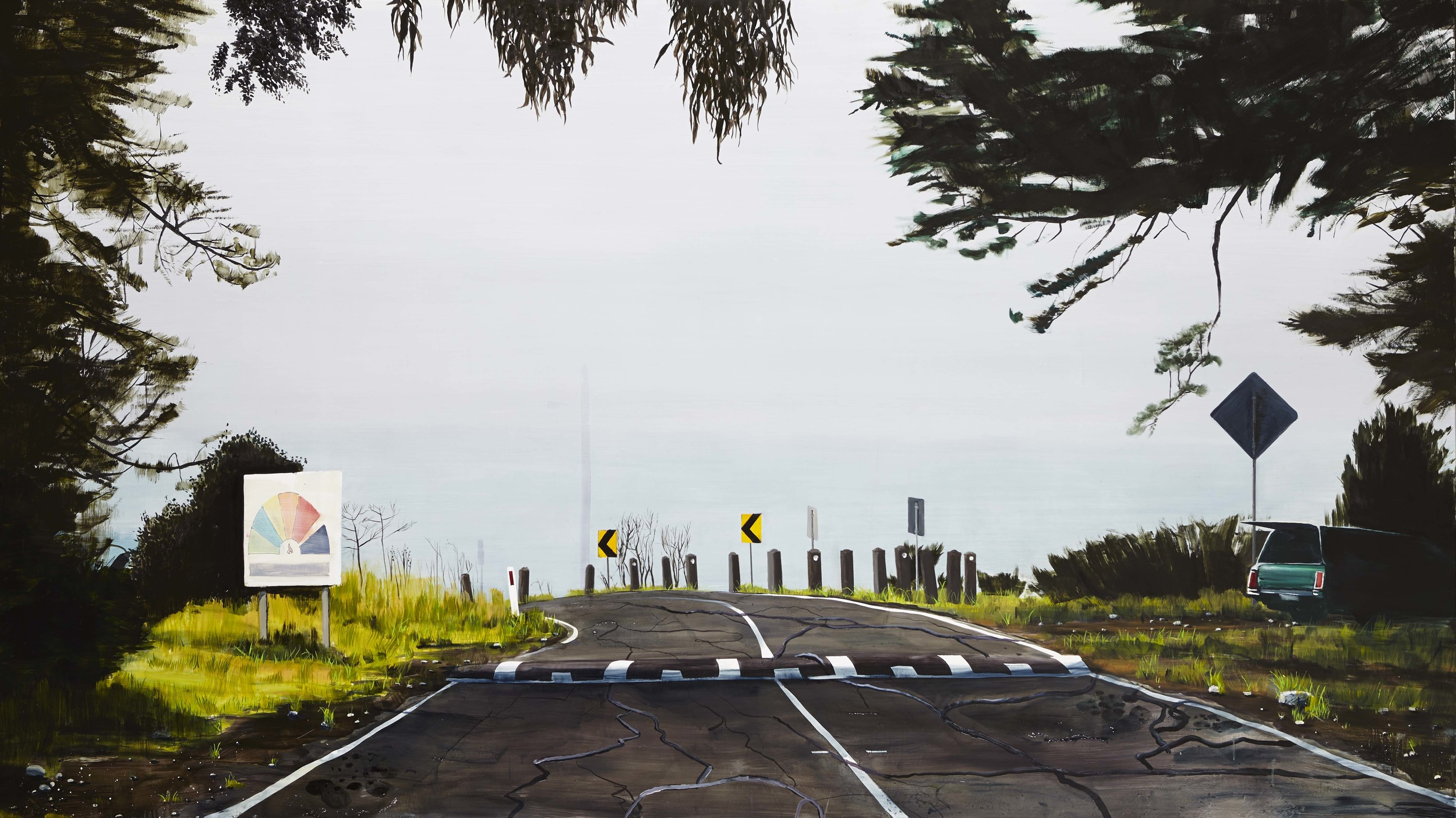 Byrne's road,  2013 Acrylic, oil and automotive enamel on linen 120 x 260cm