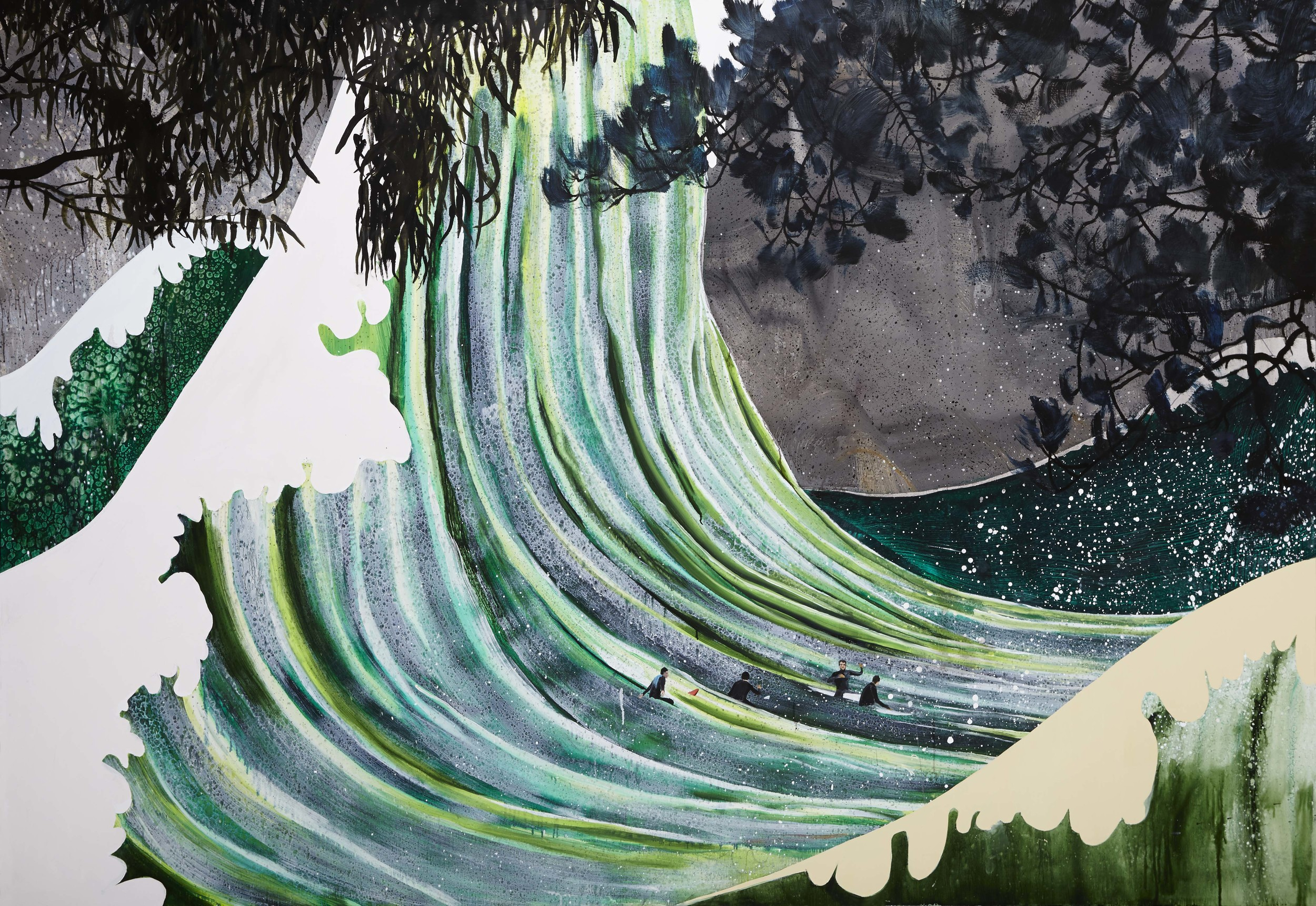 The green wave,  2013 Acrylic, oil and automotive enamel on linen 137x 200cm