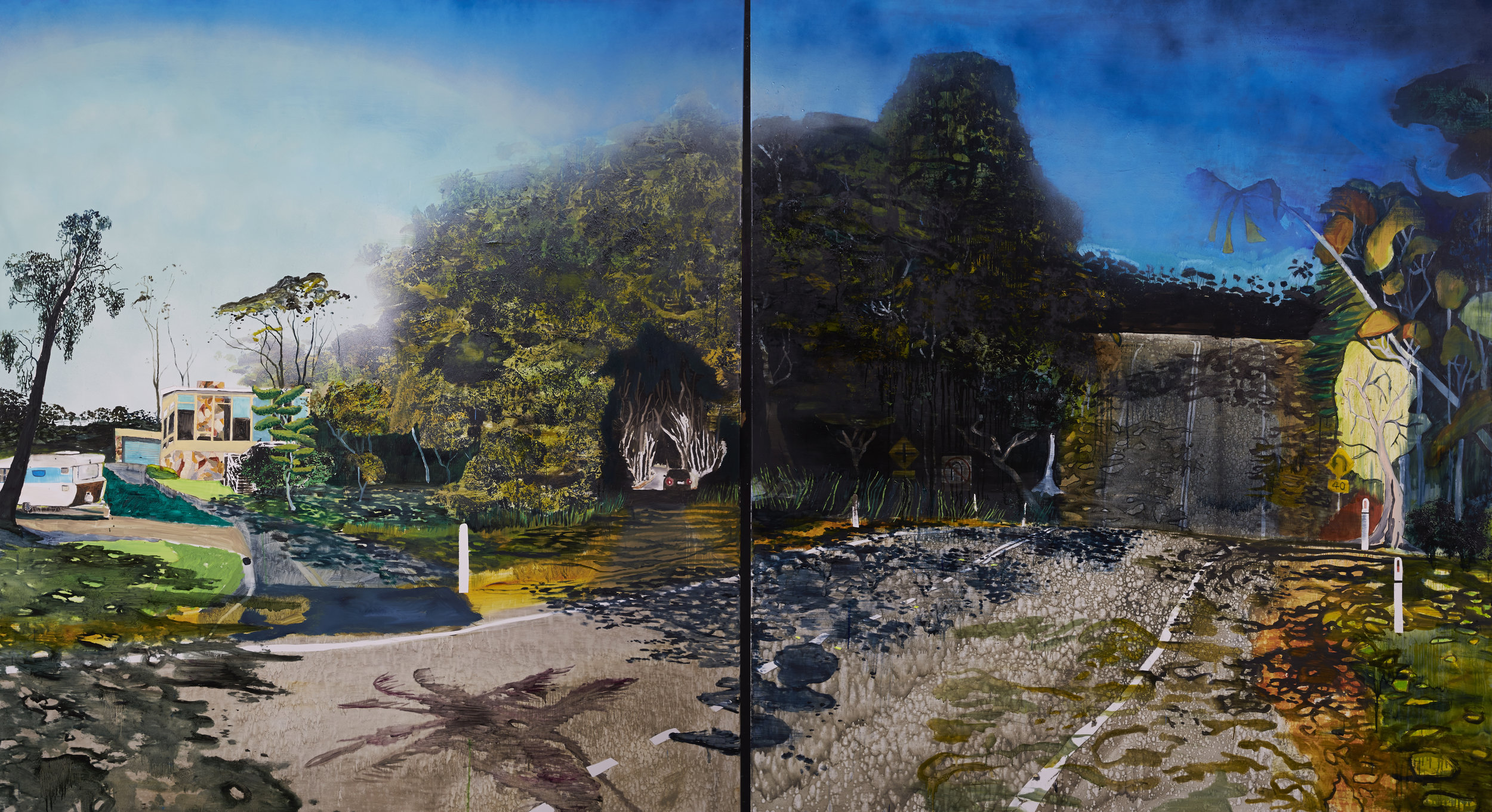 I could tell you about the river or we could just get in  Acrylic, oil and enamel on linen. 180x 400 cm 2015