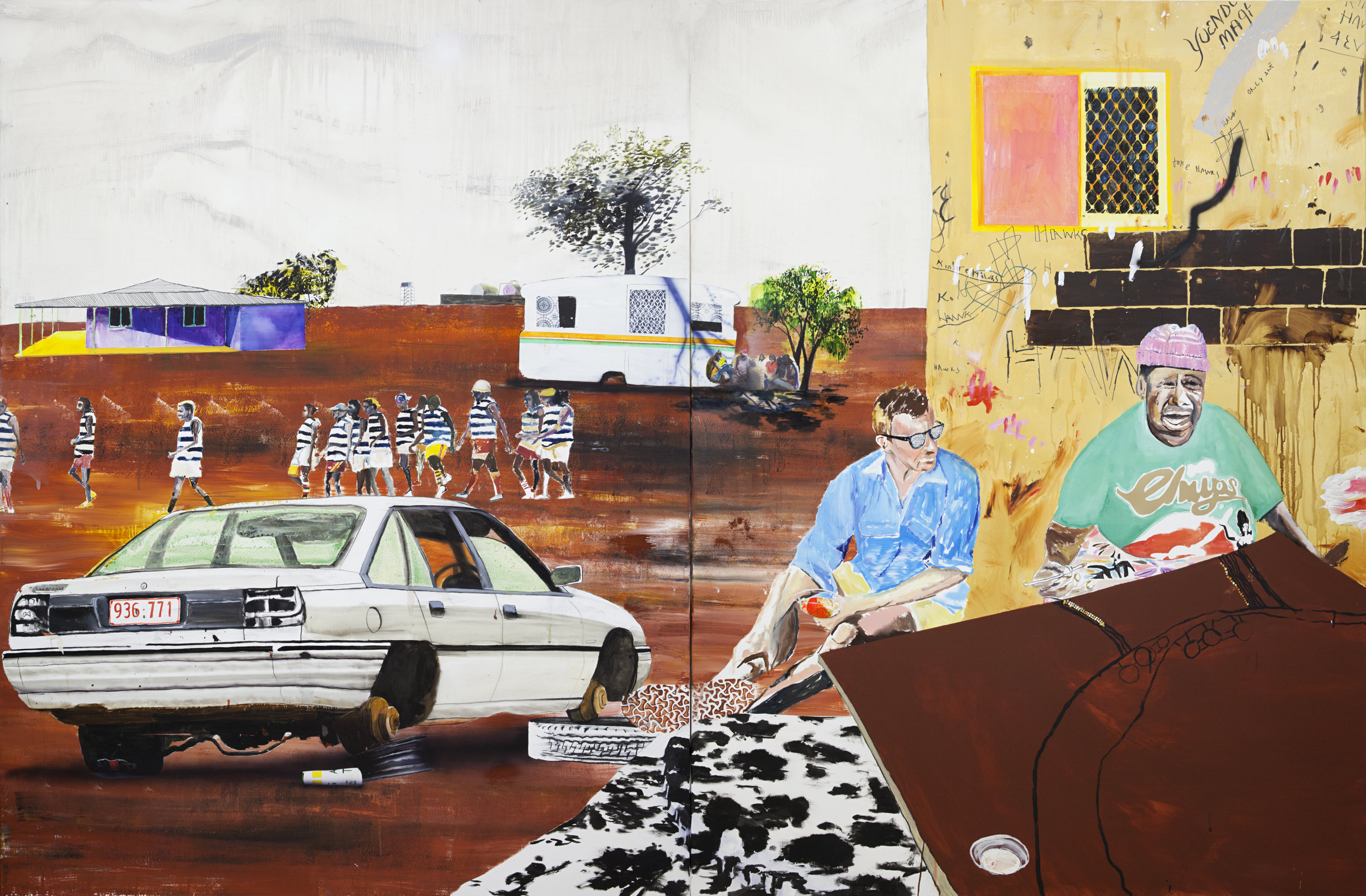 The Lucky Country?  Acrylic, oil and enamel on linen. 200 x 300 cm 2018