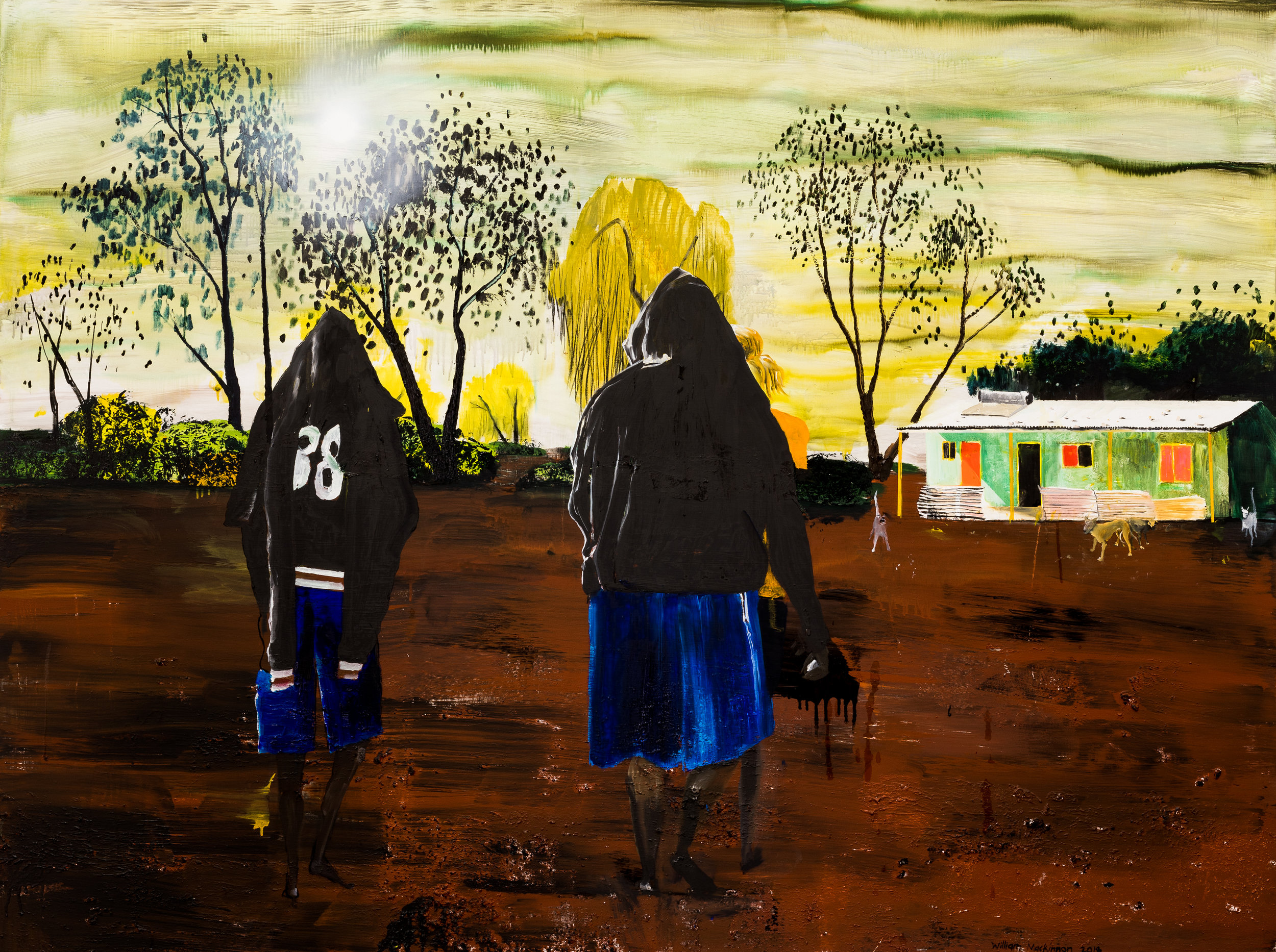 Memories of Kiwikurra.  Acrylic, oil and enamel on linen. 150 x 200 cm 2018