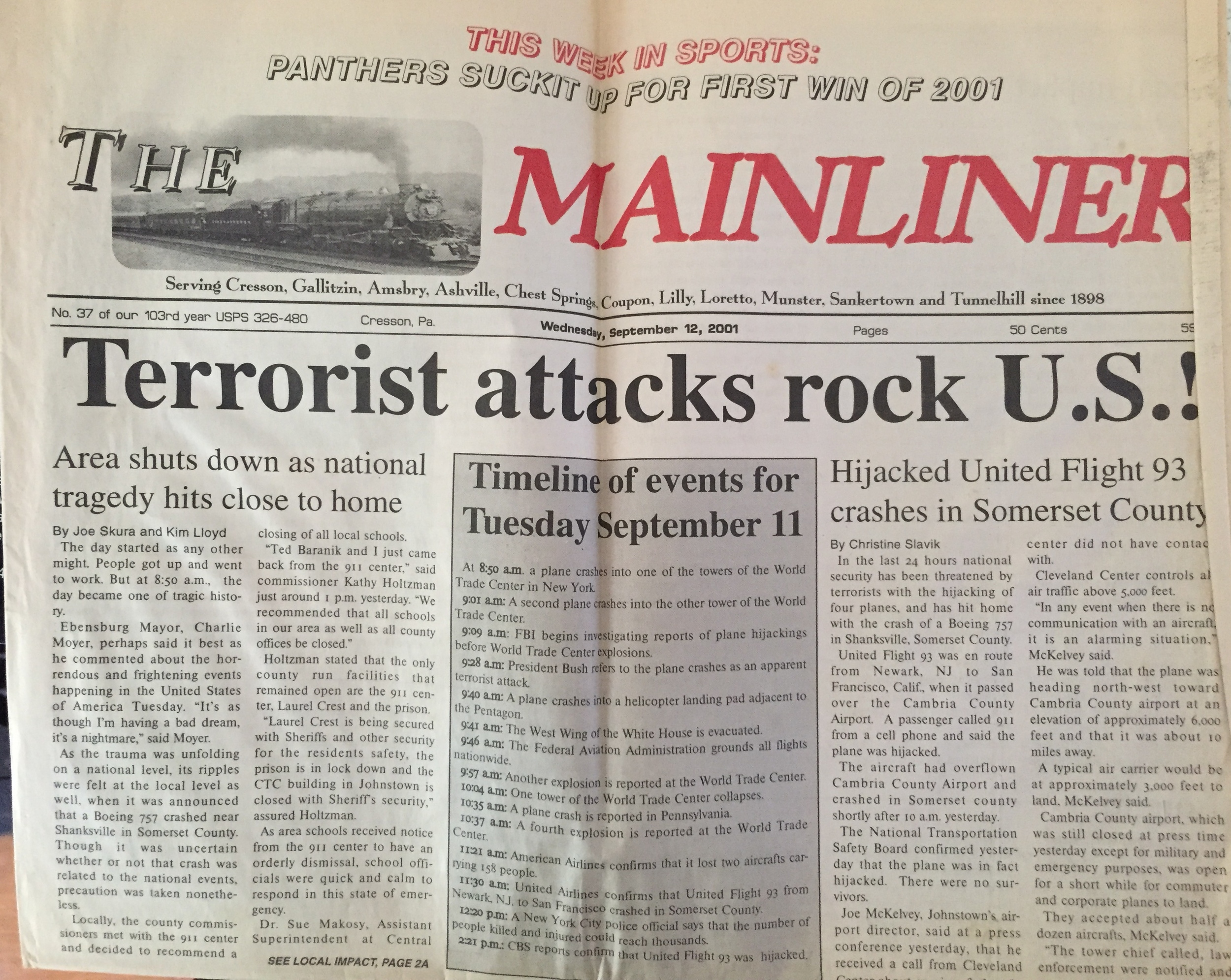 This is the only full newspaper I ever kept from my few years as a reporter. I keep it in part so that I too will never forget the panic, the fear, the pain, and the many lives that were lost that day.