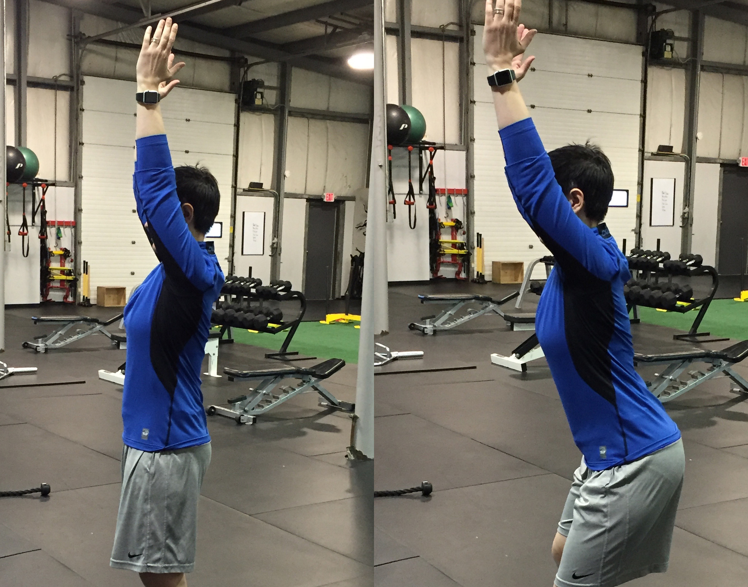 If when you reach your hands over your head, your back arches, similar to the picture on the right, you're compensating for something (and suddnely the line from Shrek comes screaming into my head). In this case, very tight lats might be the culprit.