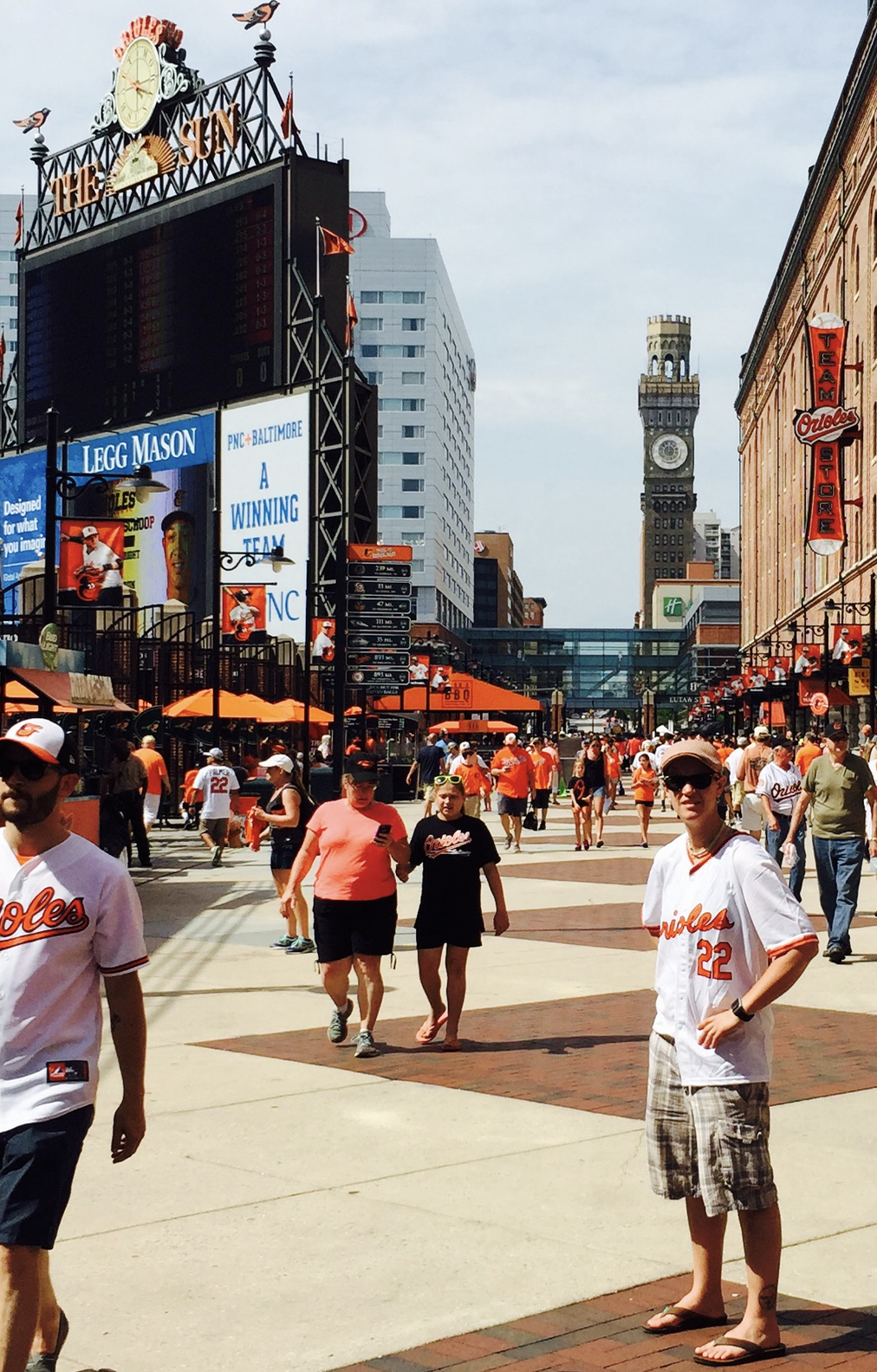 Me embracing my free Jim Palmer jersey on my visit to Camden Yards three years ago. I love baseball so much that I'm making my way around all of the MLB ballparks, one year at a time.