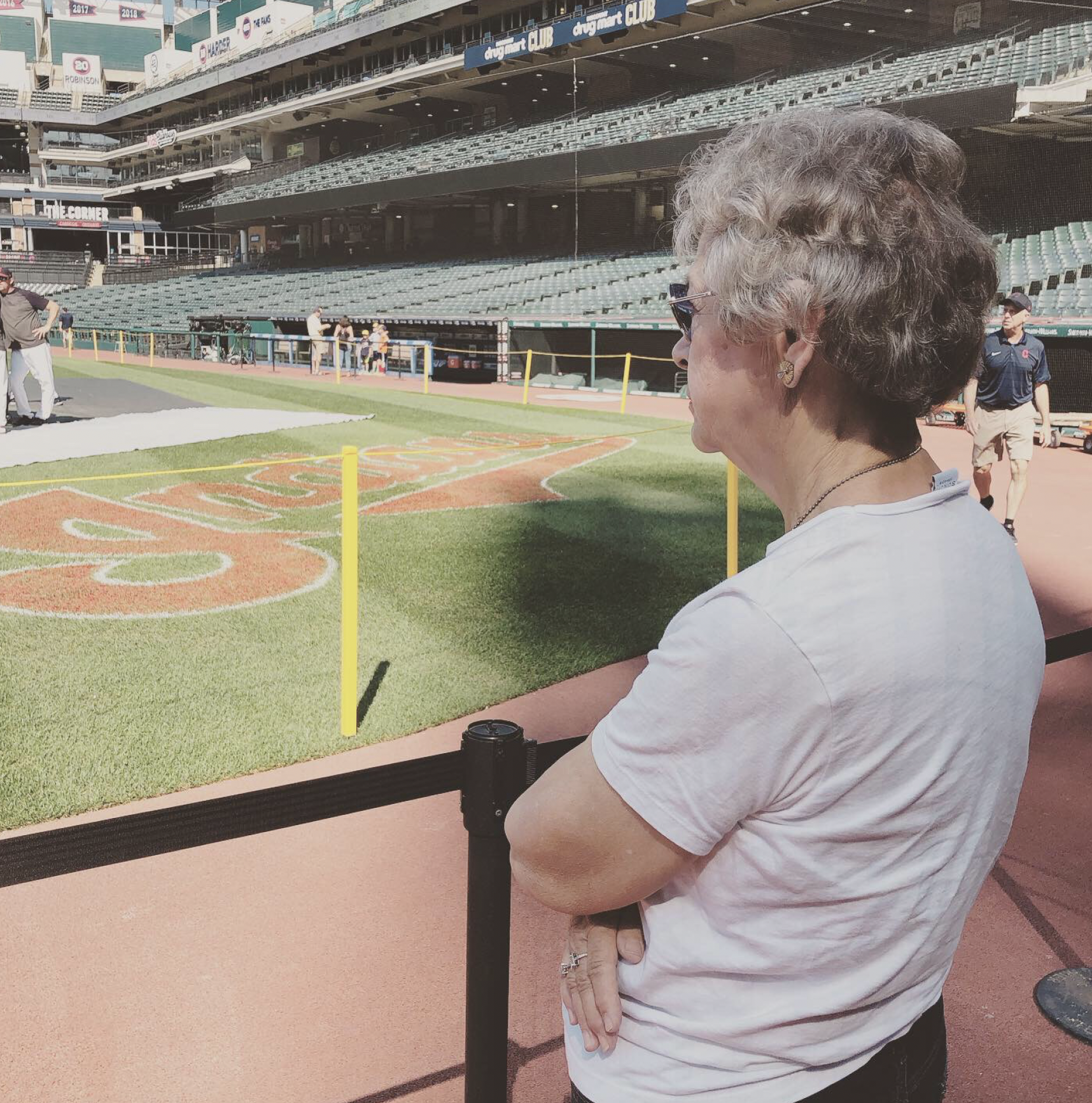 My mom hanging out with me at BP practice before the Cleveland Indians game in July. She's not too old to do anything, I promise you that.